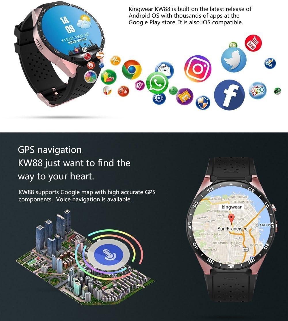 Amazon.com : BISOZER KW88 Round Bluetooth Smart Watch ...