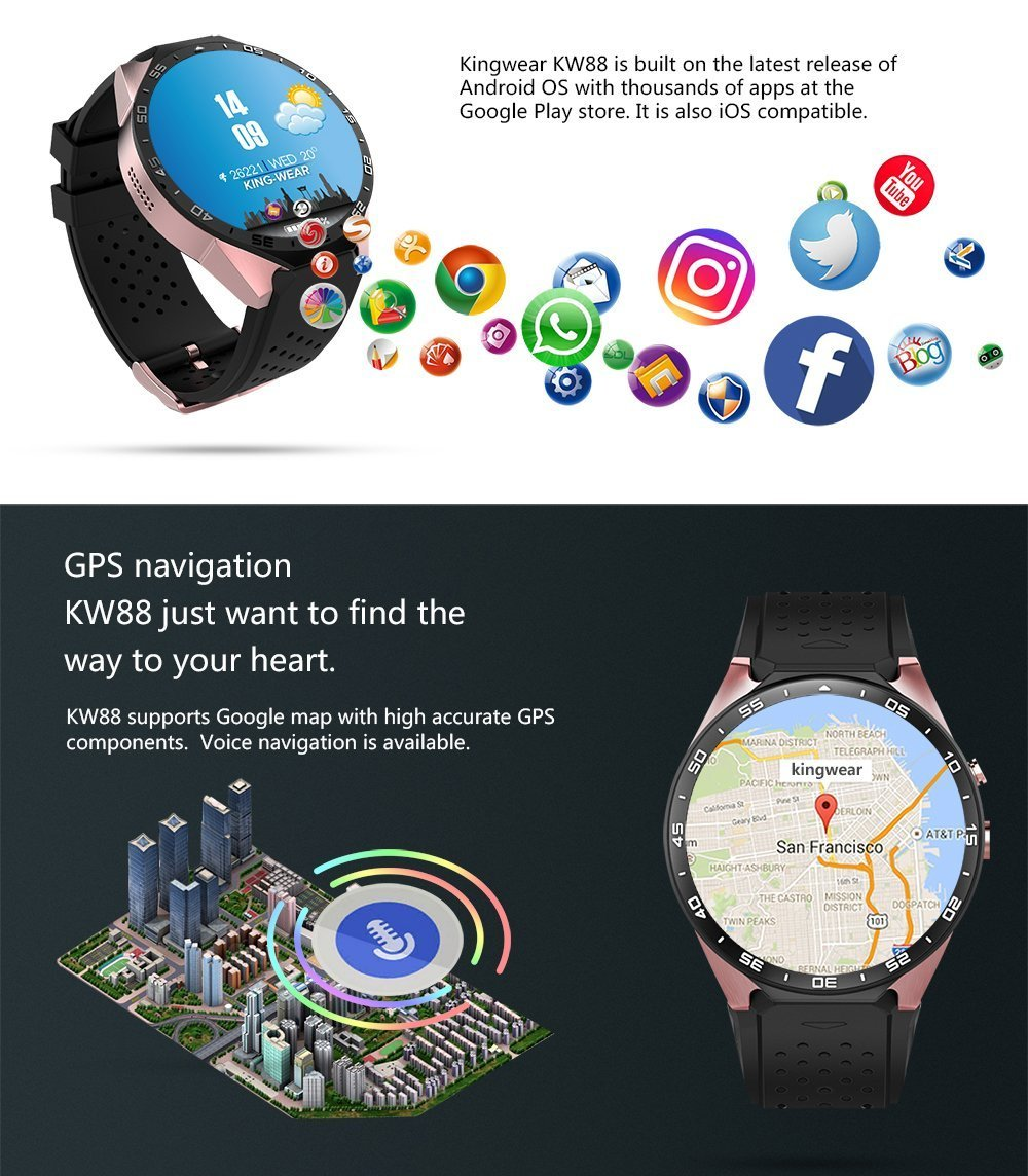 KW88 3G Smart Watch, Android 5.1 OS, Quad Core Support 2.0MP ...