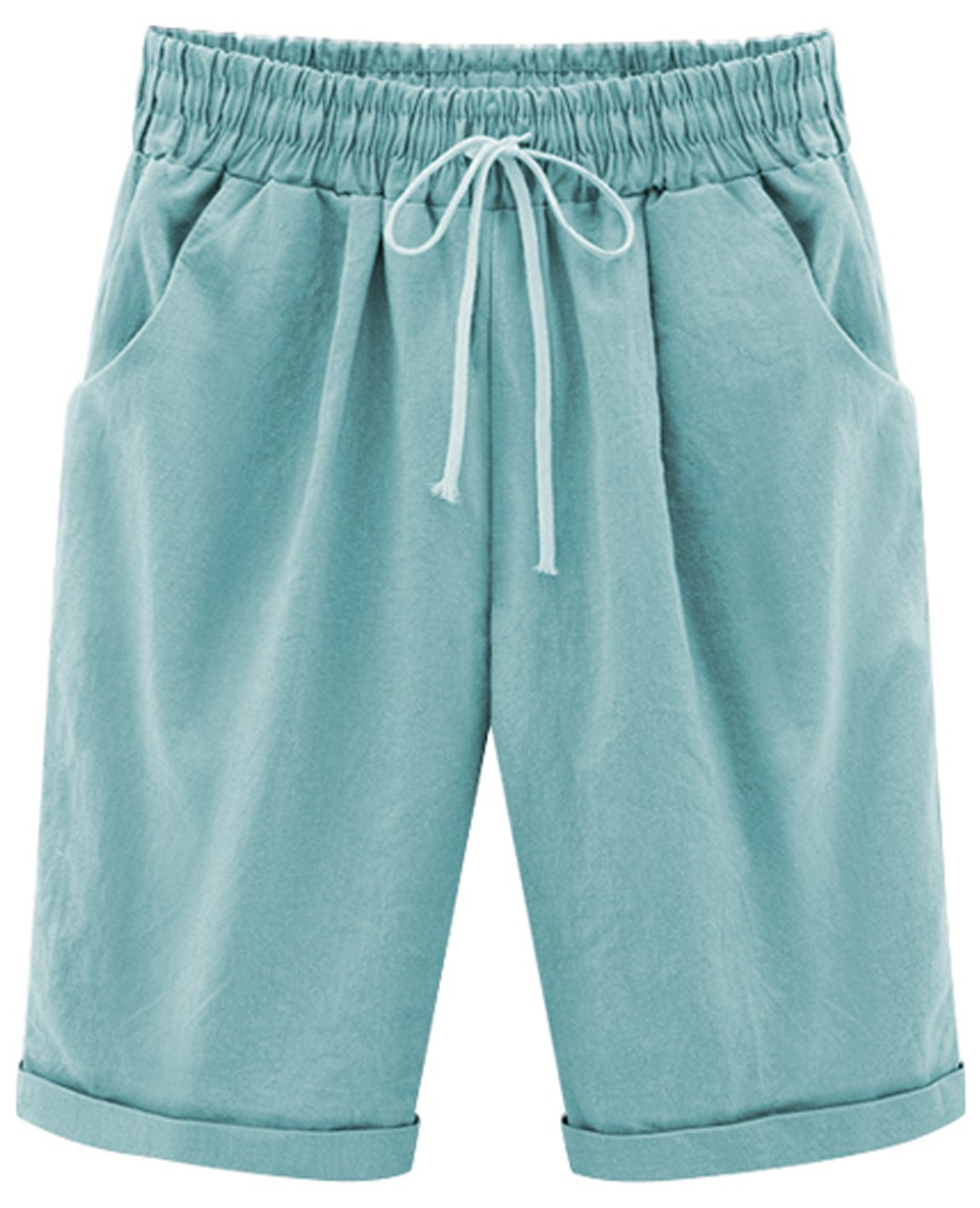 HOW'ON Women's Casual Elastic Waist Knee-Length Curling Bermuda Shorts with Drawstring SkyBlue L