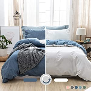 MILDLY 100% Washed Cotton Soft Duvet Cover Set King, Reversible White and Denim Blue Solid Color Ruffle Seersucker Casual Design Includes 2 Pillow Cases and 1 Duvet Cover with Zipper & Corner Ties