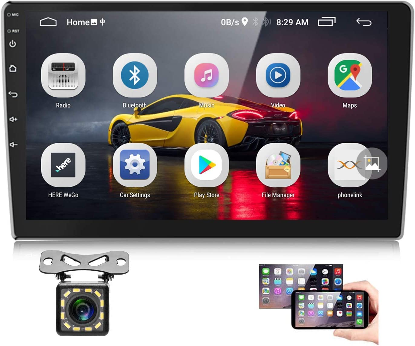 Podofo Android Car Stereo 10 inch Touchscreen Double Din Radio with GPS Backup Camera Bluetooth, Support WiFi FM Dual USB Mirror Link (Android/iOS)