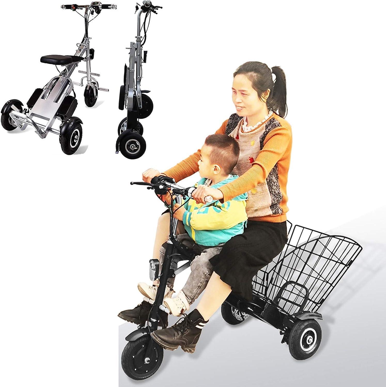 Bicicleta Eléctrica Plegable para Adultos, Peso Ligera Ebike Triciclos Patinetes Bici Eléctricos con 36V 250W 5AH Batería de Litio-Ion, Eje trasero de 55cm, para Asistencia de Movilidad Y Viajes
