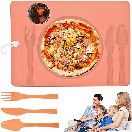 Promobo-Plateau comida televisión de accesorios de colocación con cubiertos y vaso, color rosa: Amazon.es: Hogar