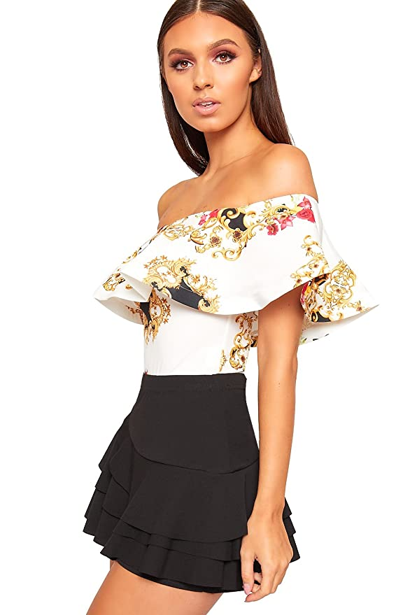 79a79f6f46 WearAll Women s Baroque Scarf Print Layer Bardot Off Shoulder Bodysuit  Ladies Leotard Top - Cream - 12-14  Amazon.co.uk  Clothing