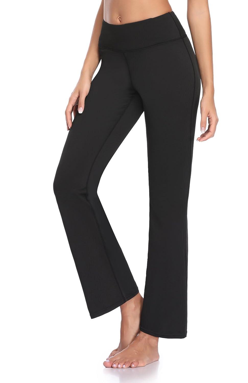 GUGUYeah Women's Workout Bootleg Yoga Pants Bootcut Leggings Active Wear with Hidden Pockets(Black Size Small)