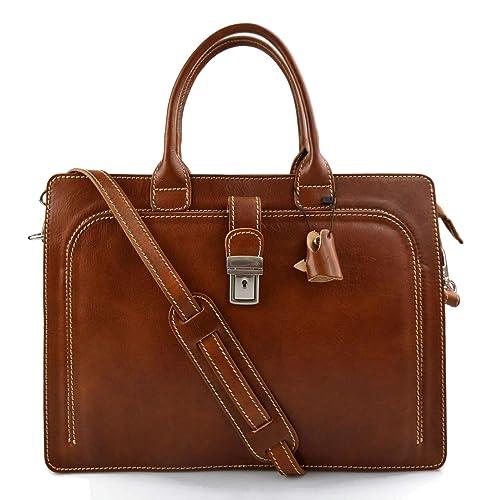 Leather Woman Purse Messenger Business Bag Satchel Brown Handbag Woman Shoulderbag Briefcase Document Bag