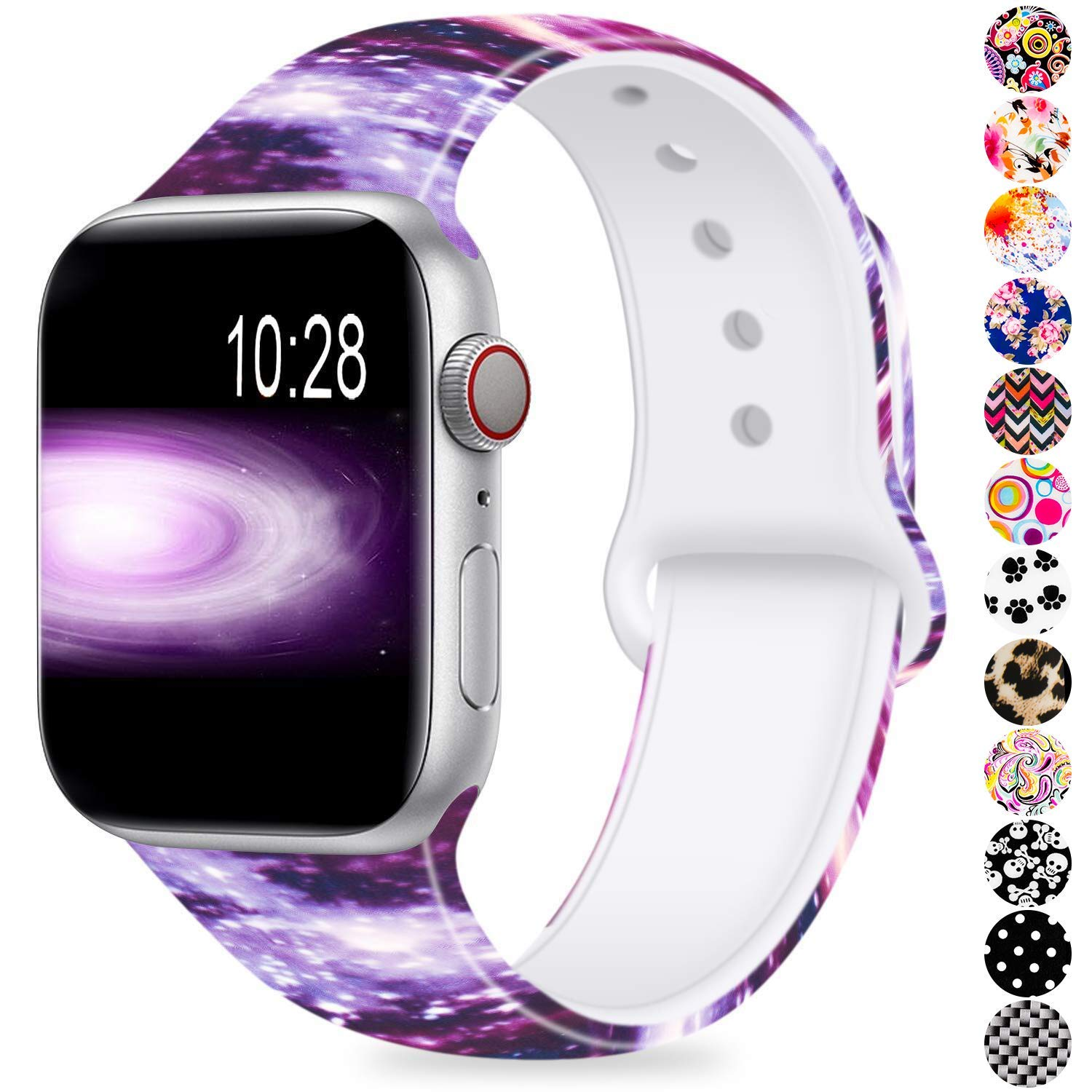 Humenn Compatible with Apple Watch Band 38mm 40mm 42mm 44mm,Soft Silicone Fadeless Pattern Printed Replacement Bands for iWatch Series 1,2,3,4
