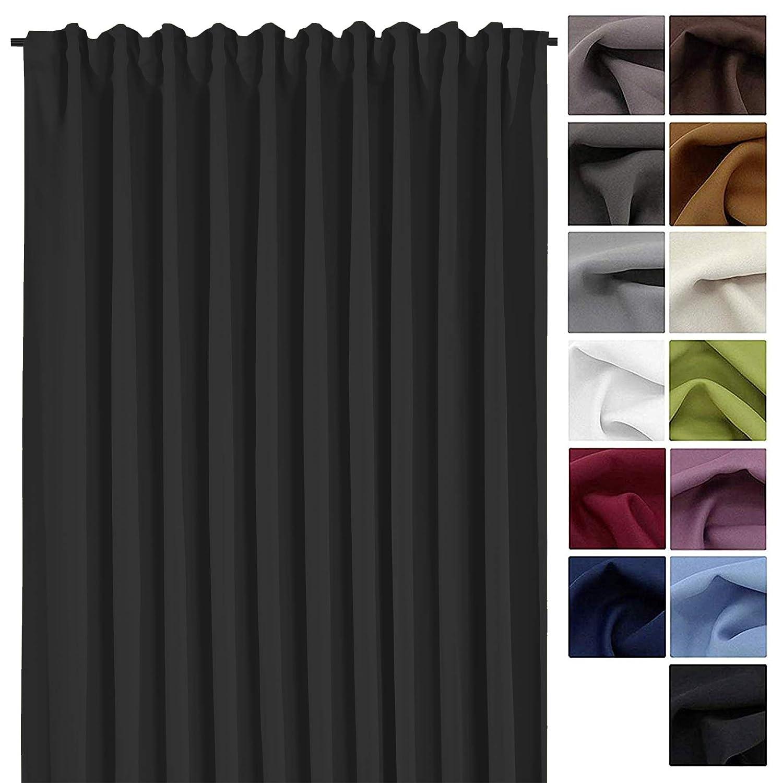 Tenda XXL decorativa oscurante termica, 245 cm di altezzax 275cm di larghezza, per isolamento dal freddo e dal caldo. Disimballare, appendere e il gioco è fatto Tenda tipo 139., Tessuto, Bordeaux, HxB 245x275 cm fashion-and-joy