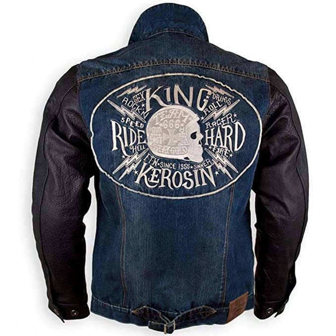 King Kerosin Hombre Denim Piel Kevlar Bike Chaqueta Biker ...