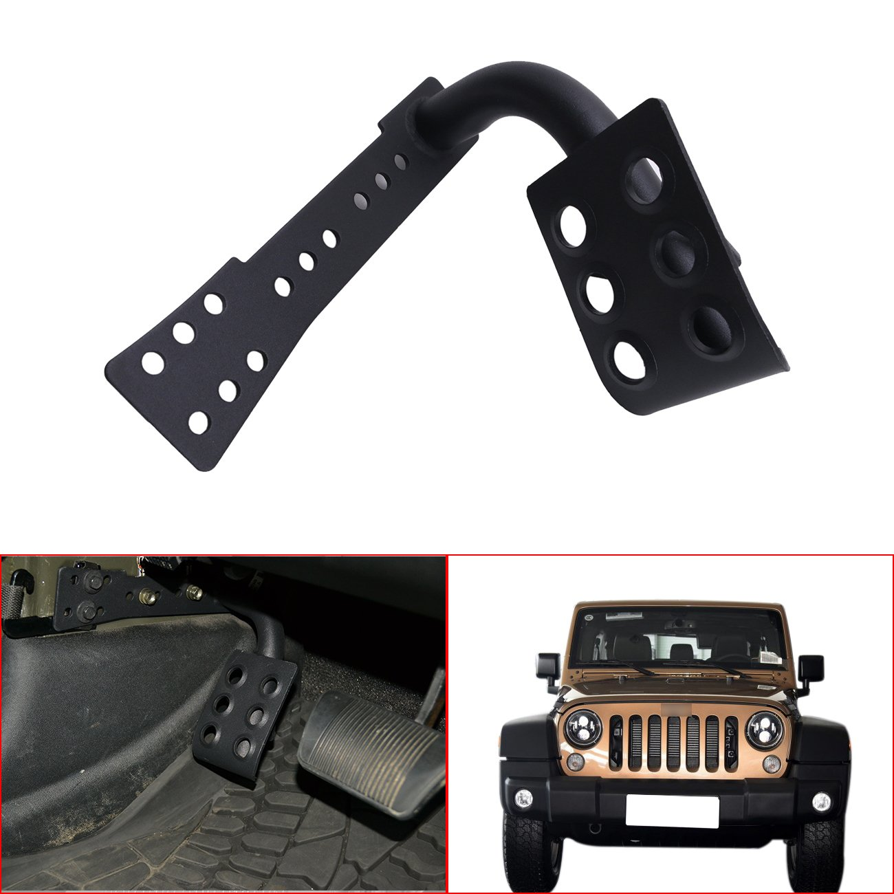 E-Most Black Metal Dead Pedal Left Side Foot Rest Kick Panel For 2007-2016 Jeep Wrangler JK Unlimited Accessories