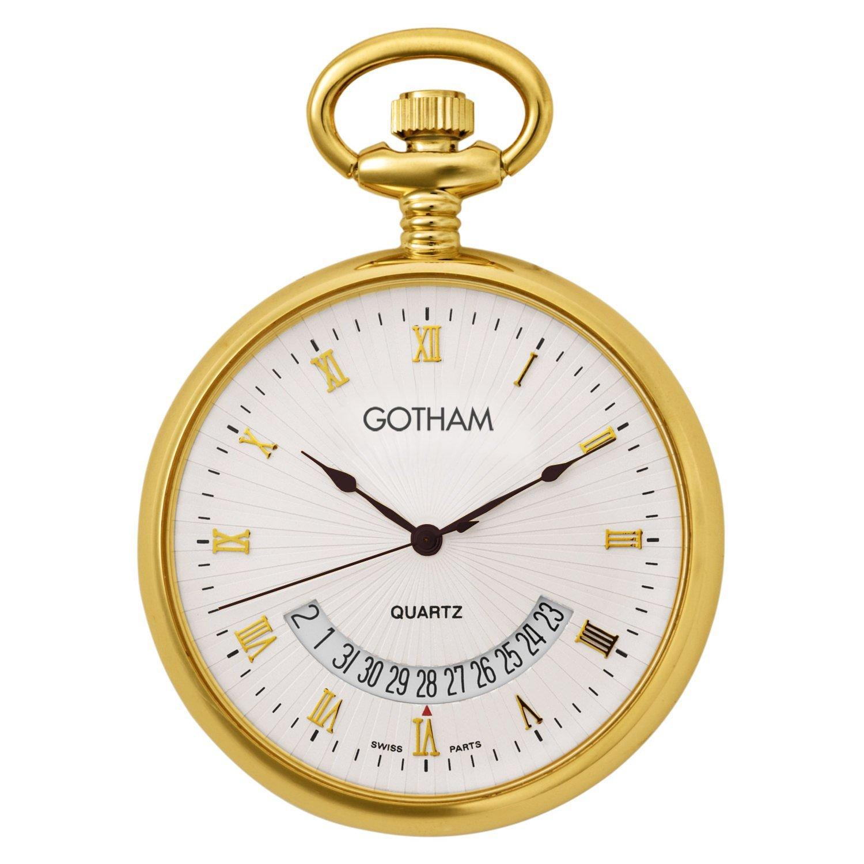 Gotham Mid-Size Gold-Tone Swiss Quartz Date Movement Pocket Watch # GWC14057G