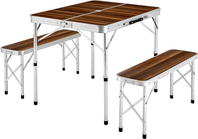 TecTake Mesa maleta 2 bancos camping plegable portátil jardín picnic aluminio | plegada (largo x ancho x alto) 91x10x34 cm: Amazon.es: Jardín
