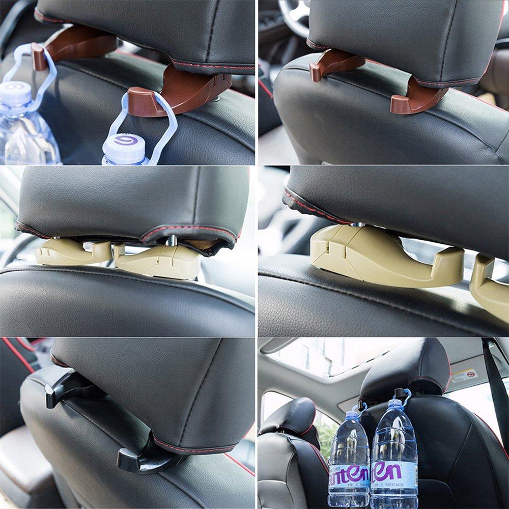 OurLeeme 2pcs asiento trasero de suspensi/Ã/³n de camiones SUV coche Percha Organizador gancho Holder apoyo para la cabeza del respaldo Gancho Amarillo
