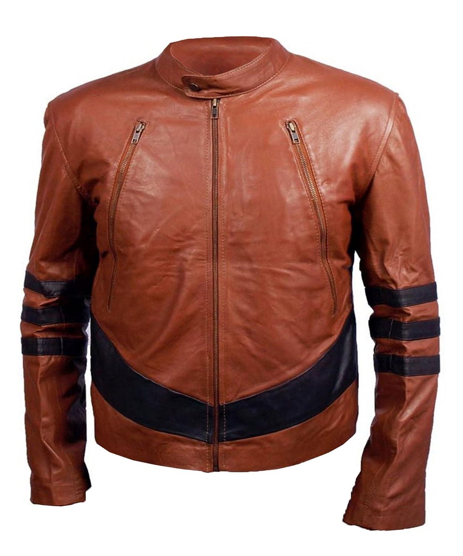HLS Men's Xman Faux brown Leather Jacket
