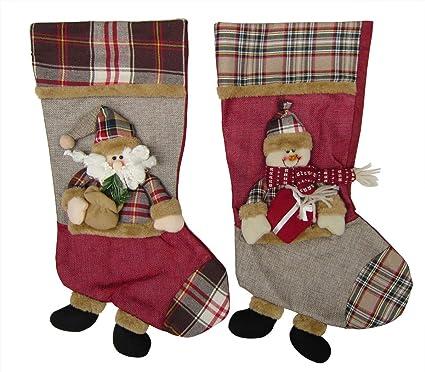 13b9e1946a5 Bellcon Christmas Stocking Socks 3D Cute Santa Claus Snowman Hanging Gift  Bags 2 Sets Xmas Plush