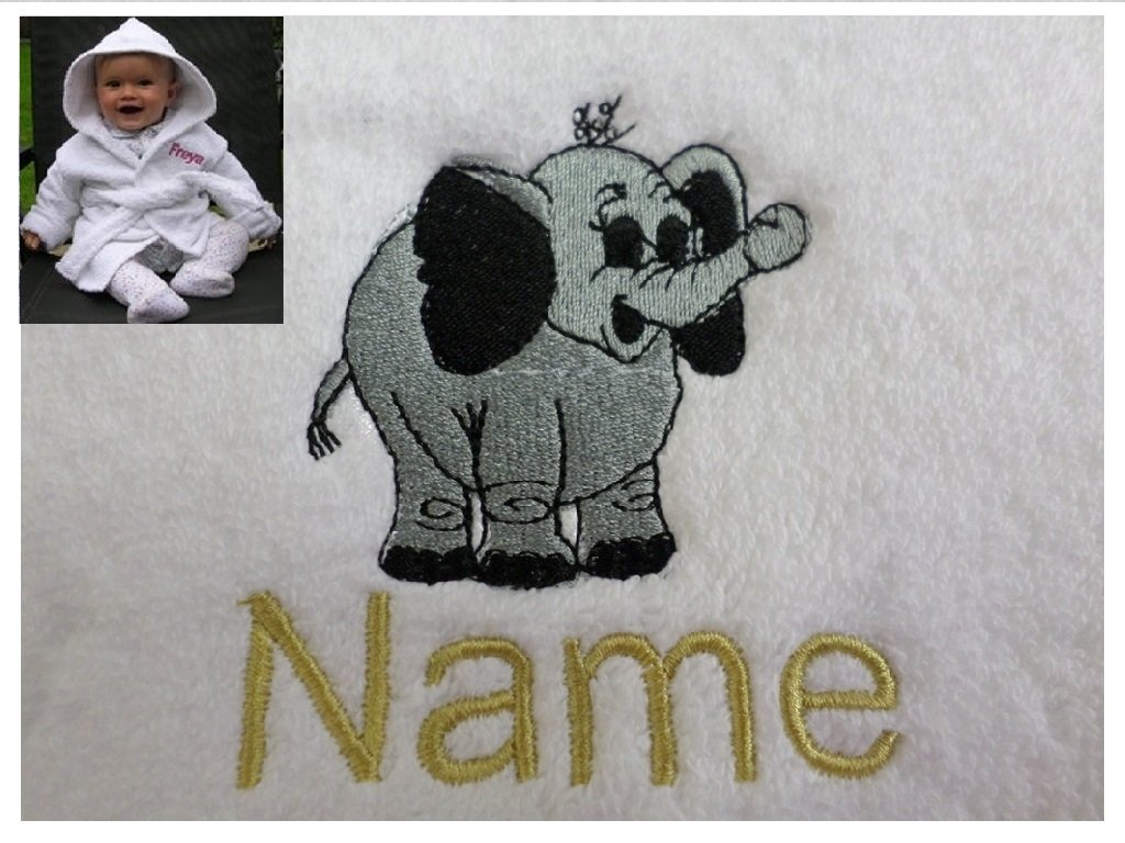 Hooded Towel 0-5 years EFY White Baby Hooded Bath Robe or White Hooded Towel with a HIPPO Logo and Name of your choice.