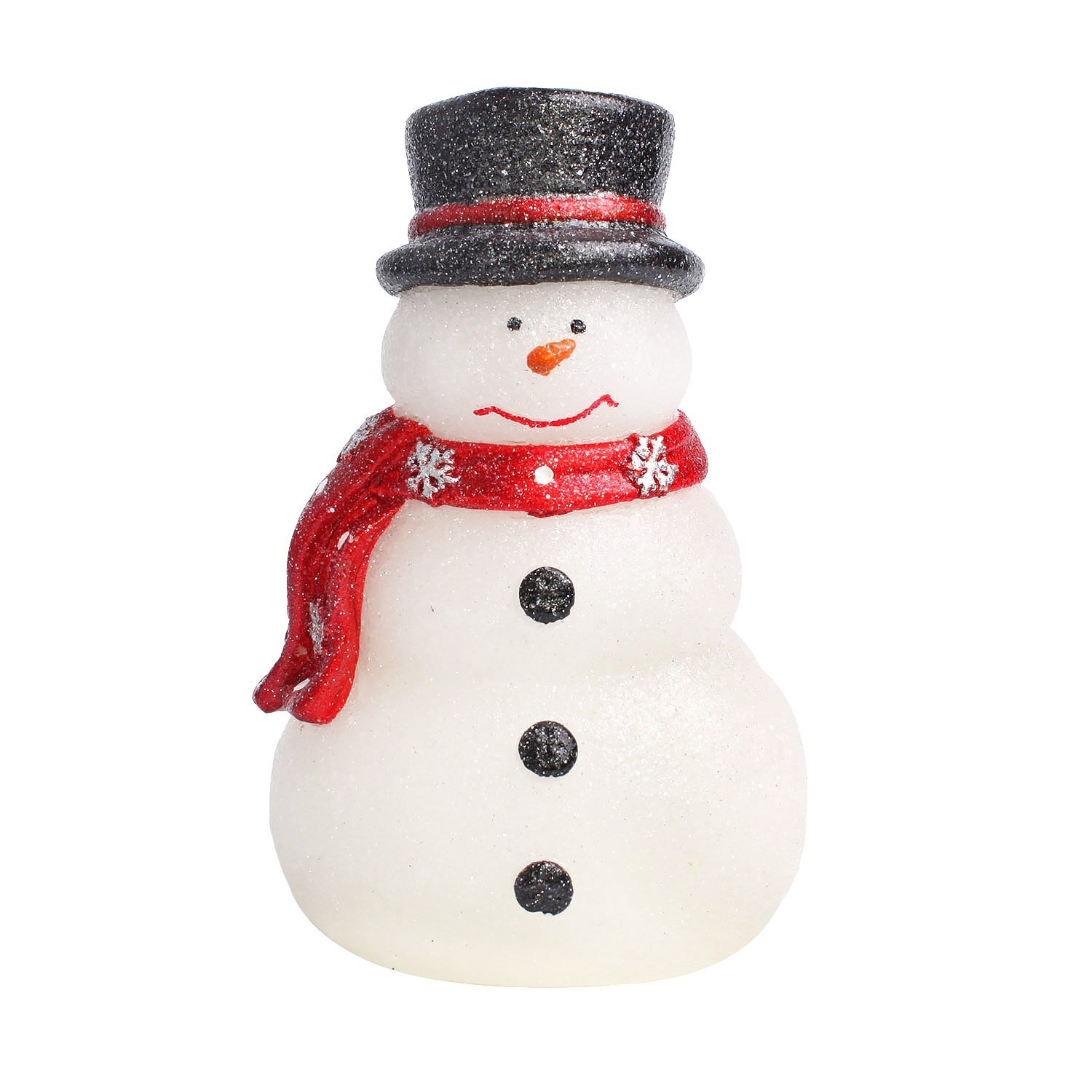 GiveU Home impressions Battery Operated Lovely Christmas Snowman with Red Scarf, Real Wax LED Candle and Timer JA13033B