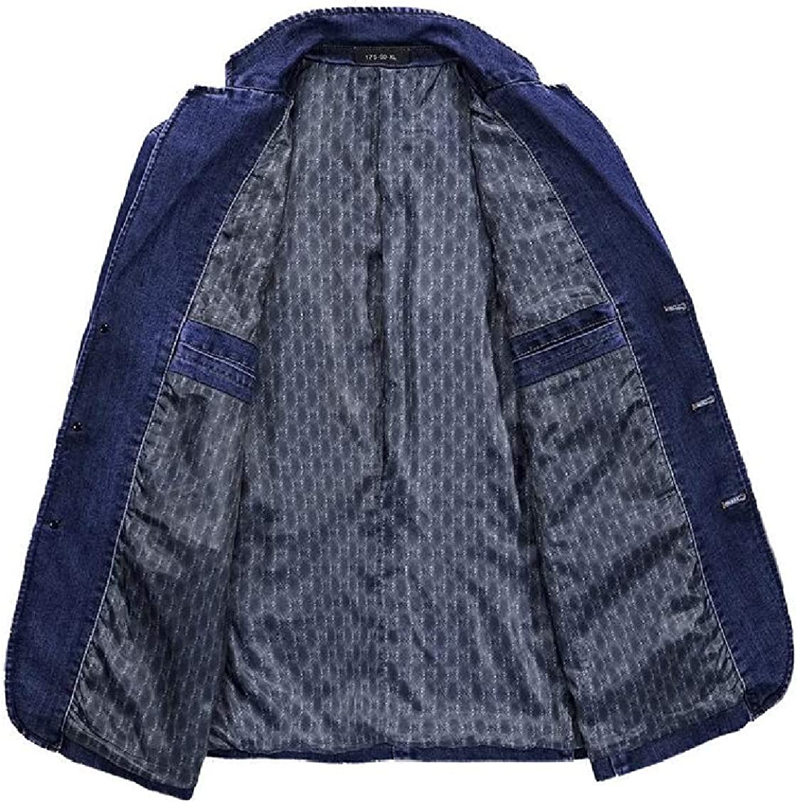 XQS Mens Work Wear Denim Turn Down Collar Solid Color Blazer Coat Tops