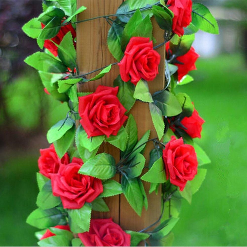 iShine 2.4M Artificiale di Pianta Vite Di Fiore Rose, Foglia per Festa di Matrimonio e la Decorazione Matrimonio(Champagne)