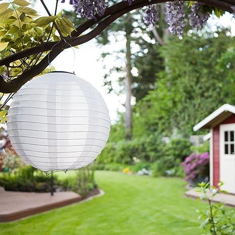 Lampions Solaire LED Lanterne étanche IP55 pour Décoration de Jardin,  Terrasse, Mariage, Fête, Maison, en Nylon/Soie Blanc 12\