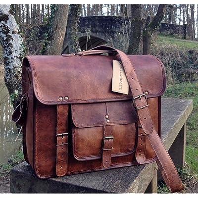 """hot sale 2017 15"""" Handcrafted Briefcase Designer Retro Chic Rustic Leather Laptop Satchel Portfolio Shoulder Messenger Bag"""