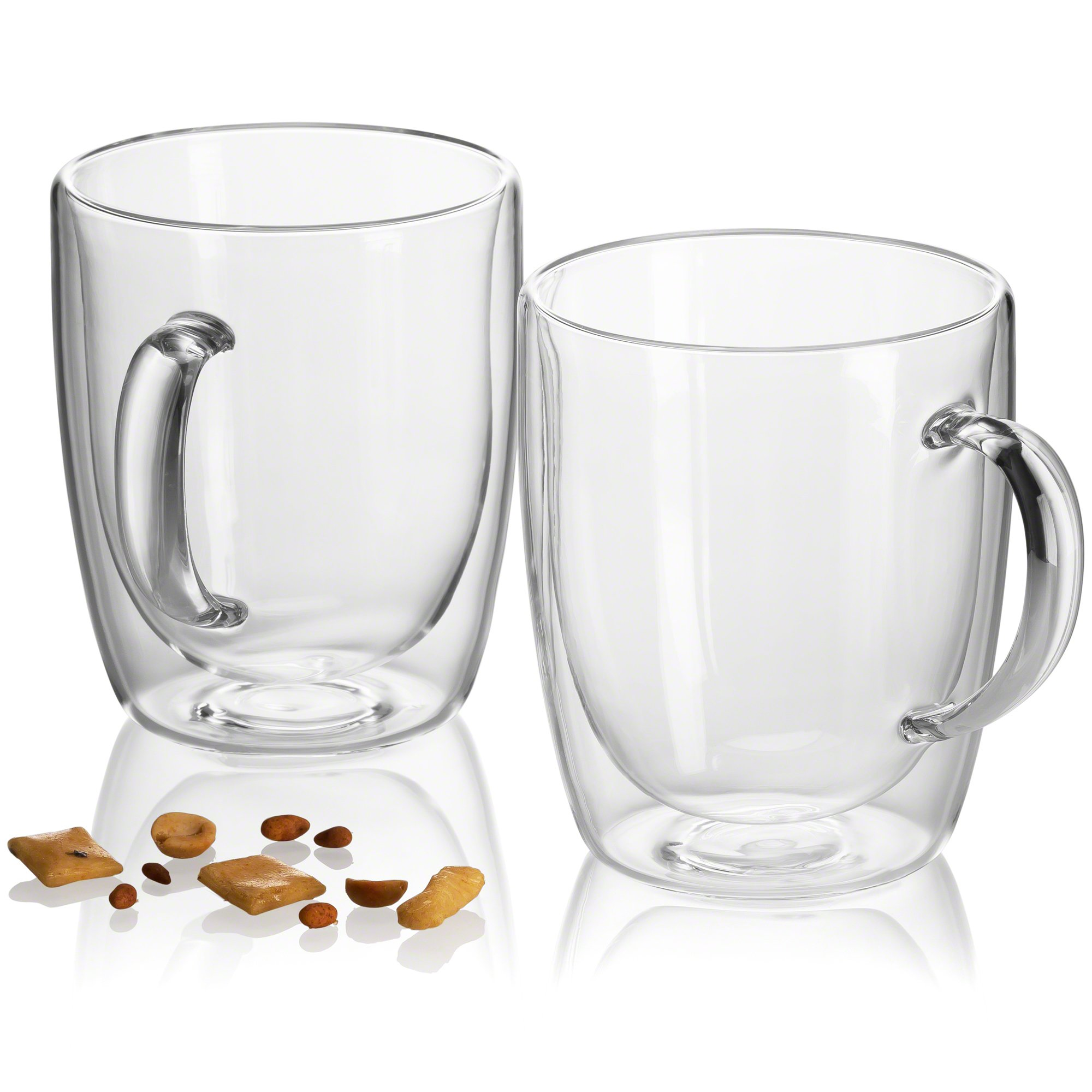 Pint Glasses - Double Wall Glass - Beer Mugs for Freezer - Dishwasher Safe - 18 oz (Set of 2) by JECOBI (Image #6)