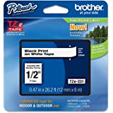 """Brother P-touch Tze231, 1/2"""" (0.47"""") Black on White Standard Laminated Tape"""
