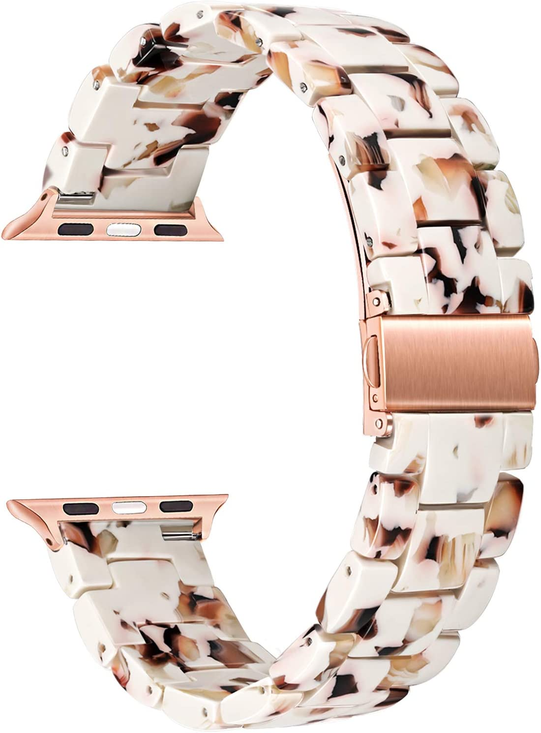 TRUMiRR Women Band Compatible for Apple Watch 38mm 40mm, Fashion Resin Watchband Rose Gold Stainless Steel Buckle Strap Bracelet for iWatch SE Apple Watch Series 6 5 4 3 2 1 38mm 40mm
