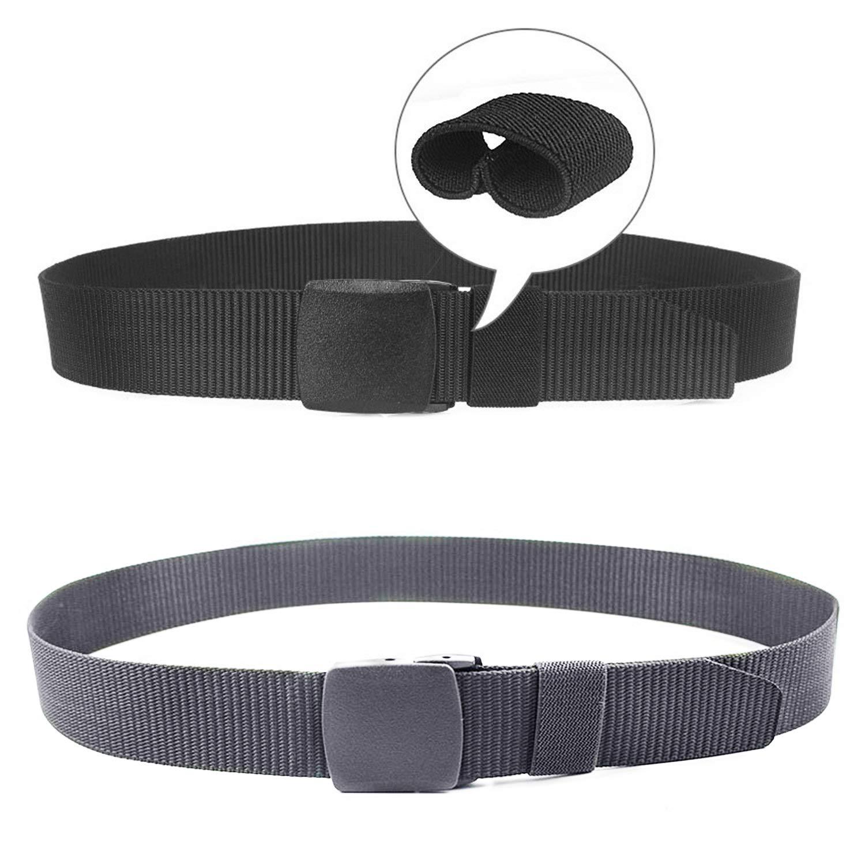 2 Pack Mens Work Belts 1.5 Webbing Canvas Belt Plastic Clip Airport Safe Belt Military Tactical Nylon Belt