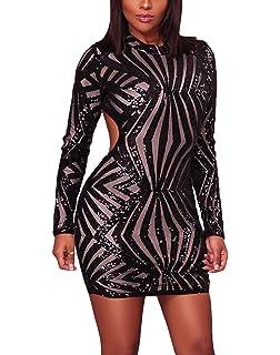 f89ec80e6b3 Bulawoo Women s Nightclub Sexy Sheer Mesh Bodycon Long Sleeve Sequin Club  Dress