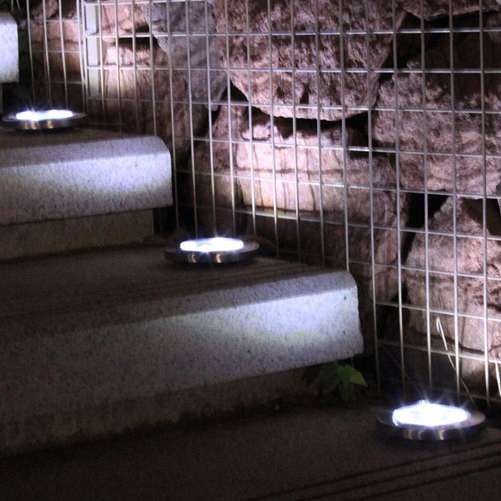 PROKTH Solar Ground Lights Outdoor 1Pack Warm White Light Decking Lights Landscape Lighting for Lawn//Patio//Yard//Walkway//Driveway//Pathway 12 LED Garden Path Lights Waterproof IP44