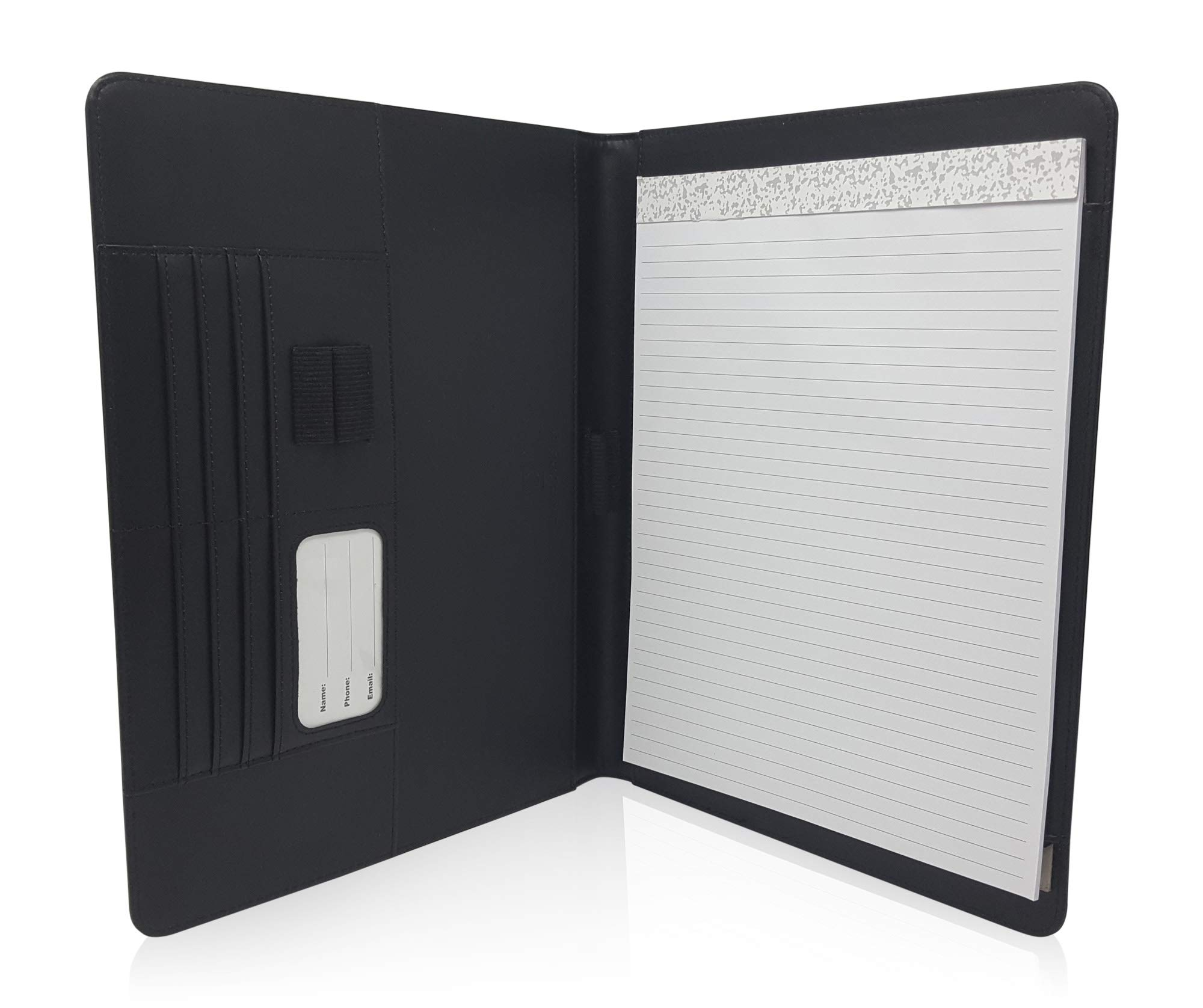 Thin Resume Portfolio Folder Organizer - Matt Black PU Leather Notepad Holder for Right or Left Handed Business Men/Women with 8.5 x 11'' Notepad by Lautus Designs
