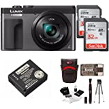 """Panasonic DC-ZS70K Lumix 20.3MP, 4K Touch Enabled 3"""" LCD, 180 Degree Flip-Front Display, 30x Lens 64GB Bundle"""