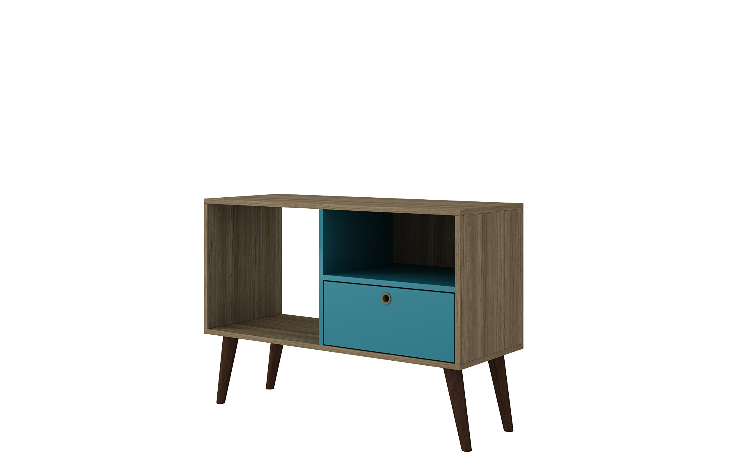 "Manhattan Comfort Bromma Collection Mid Century Modern TV Stand With Open Cubby Space and One Drawer With Splayed Legs, Wood/Teal - Ideal Dimensions: The Bromma Collection Introduces a Artistically Crafted TV Stand With Ideal Dimensions of 35.43"" x 24.8"" x 13.78"" and Weighs Only 31.41 lbs., Making it Easy to Place Anywhere in Your Home. Designed With Open Shelf Space, it is Easy to Store Your Cable Box or TV Console. The Size of This TV Stand Makes it Ideal for a 32"" Television. Upon Basic Assembly With Detailed Directions, You Can Begin to Enjoy This TV Stand With its Ideal Dimensions and Endless Possibilities Reliable Craftsmanship: Crafted From High Quality MDF, This TV Stand Has Been Designed to be Durable and Long Lasting. This TV Stand Can Be a Versatile Accent Addition to Your Home, Placed in Any Room. Additionally, This TV Stand Can Be Multifunctional and Easily be Used to Store Different Items as Necessary. Designed to Accomodate a 32"" TV Mid Century Modern Design: This TV Stand Has Been Designed to Enhance Your Home Décor With a Elegant Mid Century Modern Appeal. The Splayed Legs Give it a Beautiful Look That Makes it a Must Have. The Storage Compartment and Open Cubby Shelf Space Makes it a Practical Addition Because it is Easy to Put Away Items and Enjoy the Access to Your Television. Would Make for a Great and Practical Addition to Any Room in Your Home - tv-stands, living-room-furniture, living-room - 71Kjn6ciORL -"