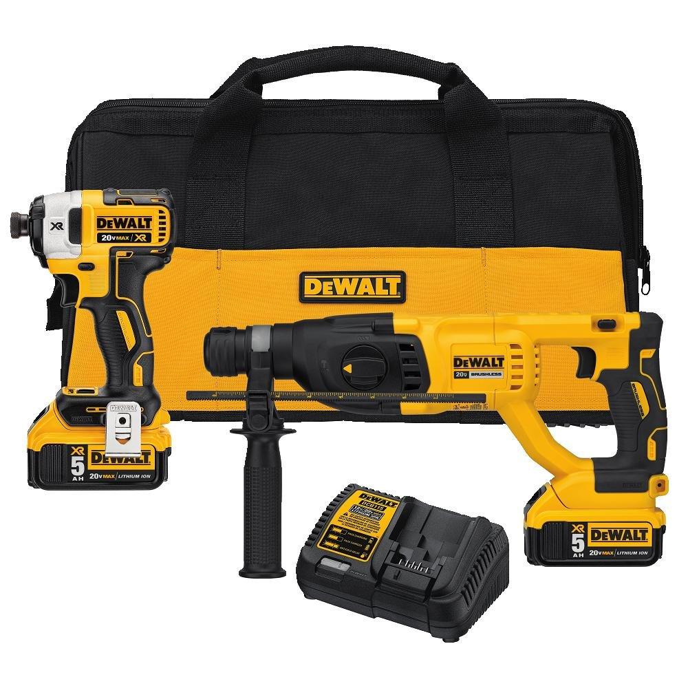 DEWALT DCK233P2 20V MAX XR Brushless 1'' SDS PLUS Rotary Hammer and Impact Driver Kit