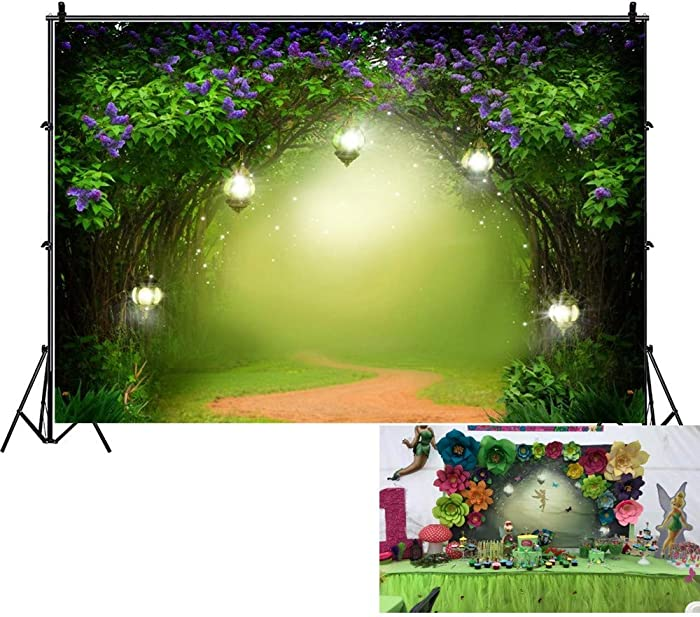 OFILA Enchanted Garden Baby Shower Backdrop 7x5ft Girls Fairy Tale Photography Backdrop Wonderland Background Enchanted Forest Birthday Party Decoration Princess Garden Tea Party Background Props