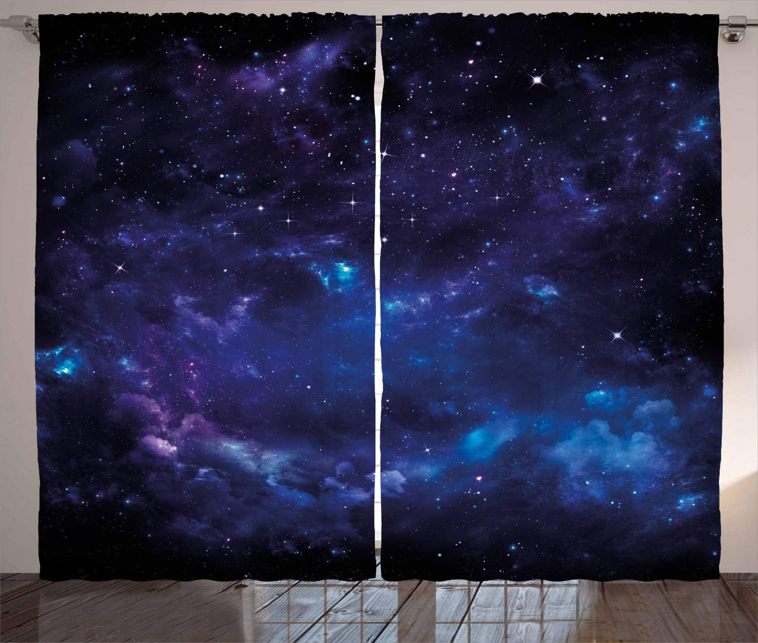 Ambesonne Sky Curtains, Space Night Time Universe Stars and Nebulas Distant Parts of Galaxy, Living Room Bedroom Window Drapes 2 Panel Set, 108