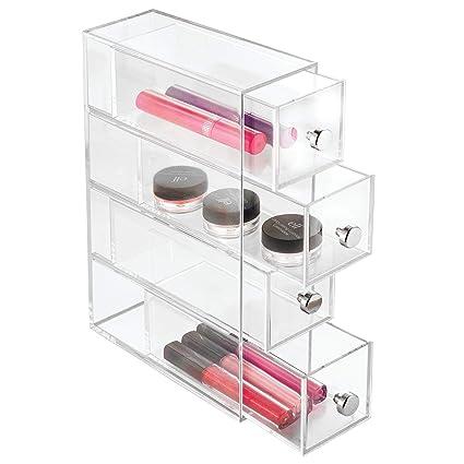 iDesign Organizador de maquillaje con 4 cajones, minicómoda estrecha de plástico, mini cajonera para cosméticos para uso vertical u horizontal, ...