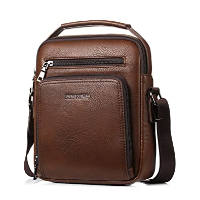 85e42fccb7 Small Leather Man Bag Mens Shoulder Bag Cross Body Messenger Bag (brown).  Roll over image to zoom in. polo videng