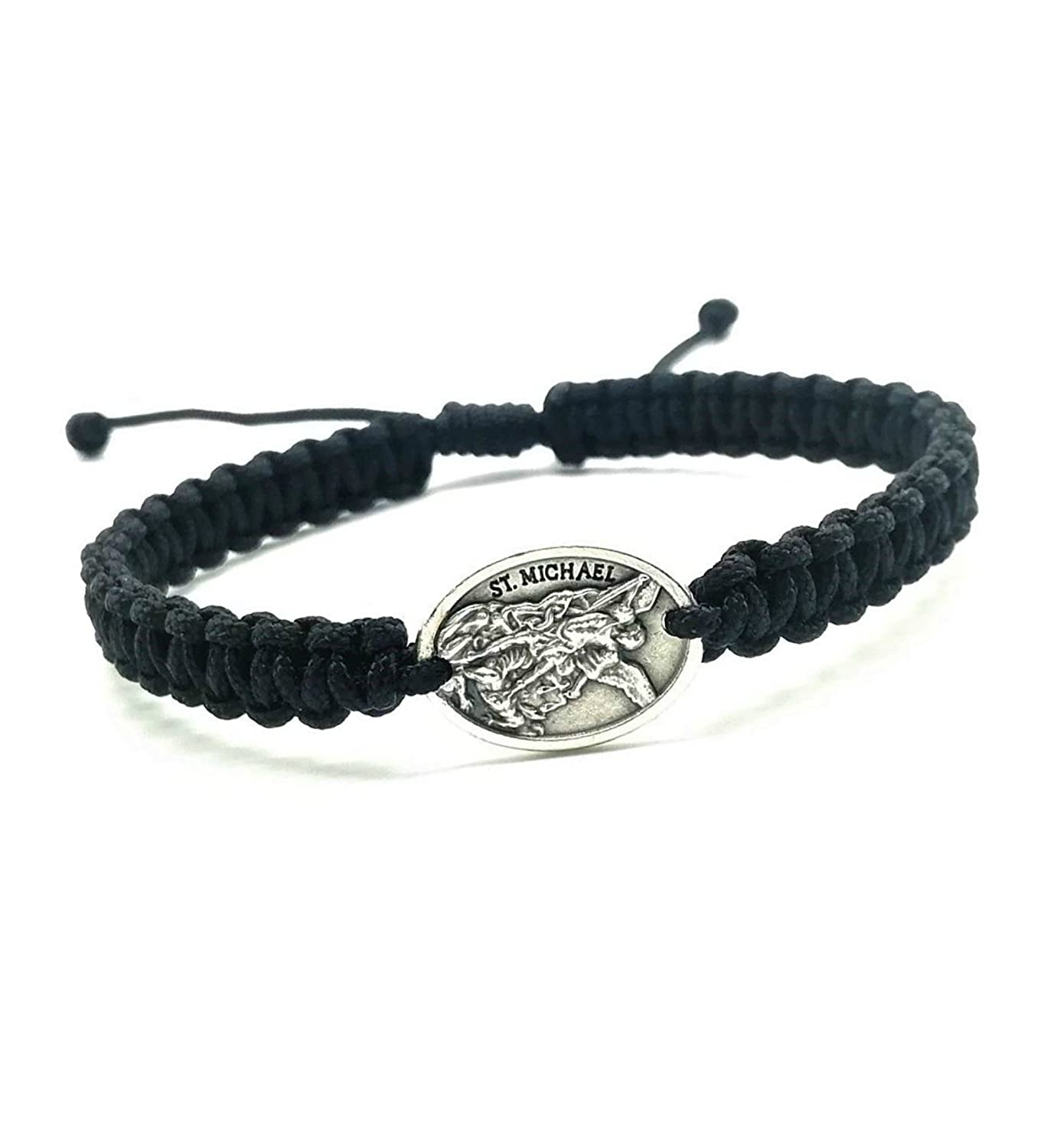 MedjugorjeStoneGifts St Michael the Archangel/Guardian Angel Bracelet/Black Adjustable Cord