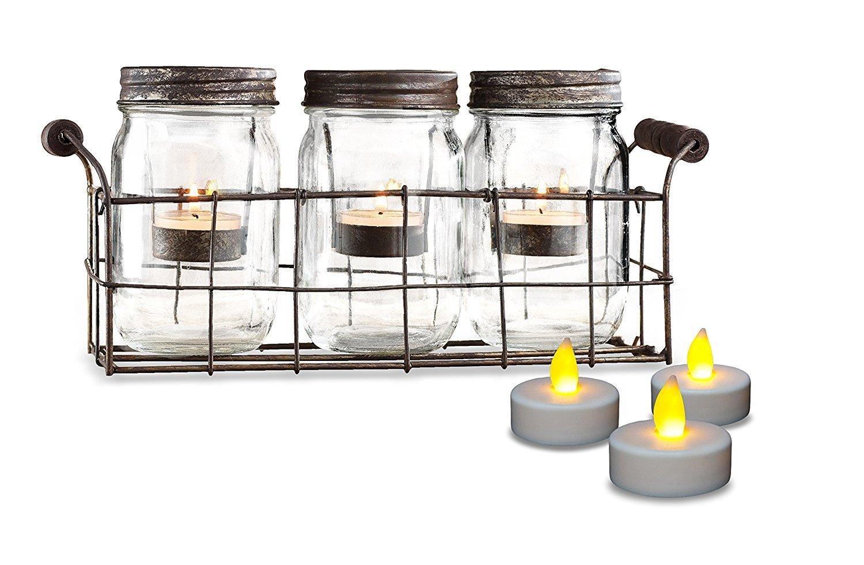 Amazon.com: Beautiful Set of 3 Glass Mason Jars Votive Candle Holder ...