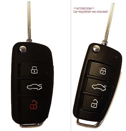 Automobilia Schlüssel Cover Hülle Aus Leder Für Audi Funkschlüssel Schwarz Schlüsselanhänger