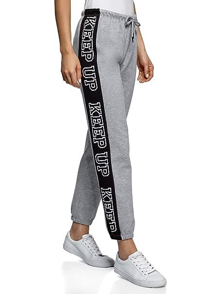 oodji Ultra Mujer Pantalones de Punto Deportivos, Gris, ES 40 / M ...