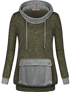 da8bb0675a3 Miusey Womens Long Sleeve Lightweight Hoodie Sweatshirt with Kangaroo Pocket