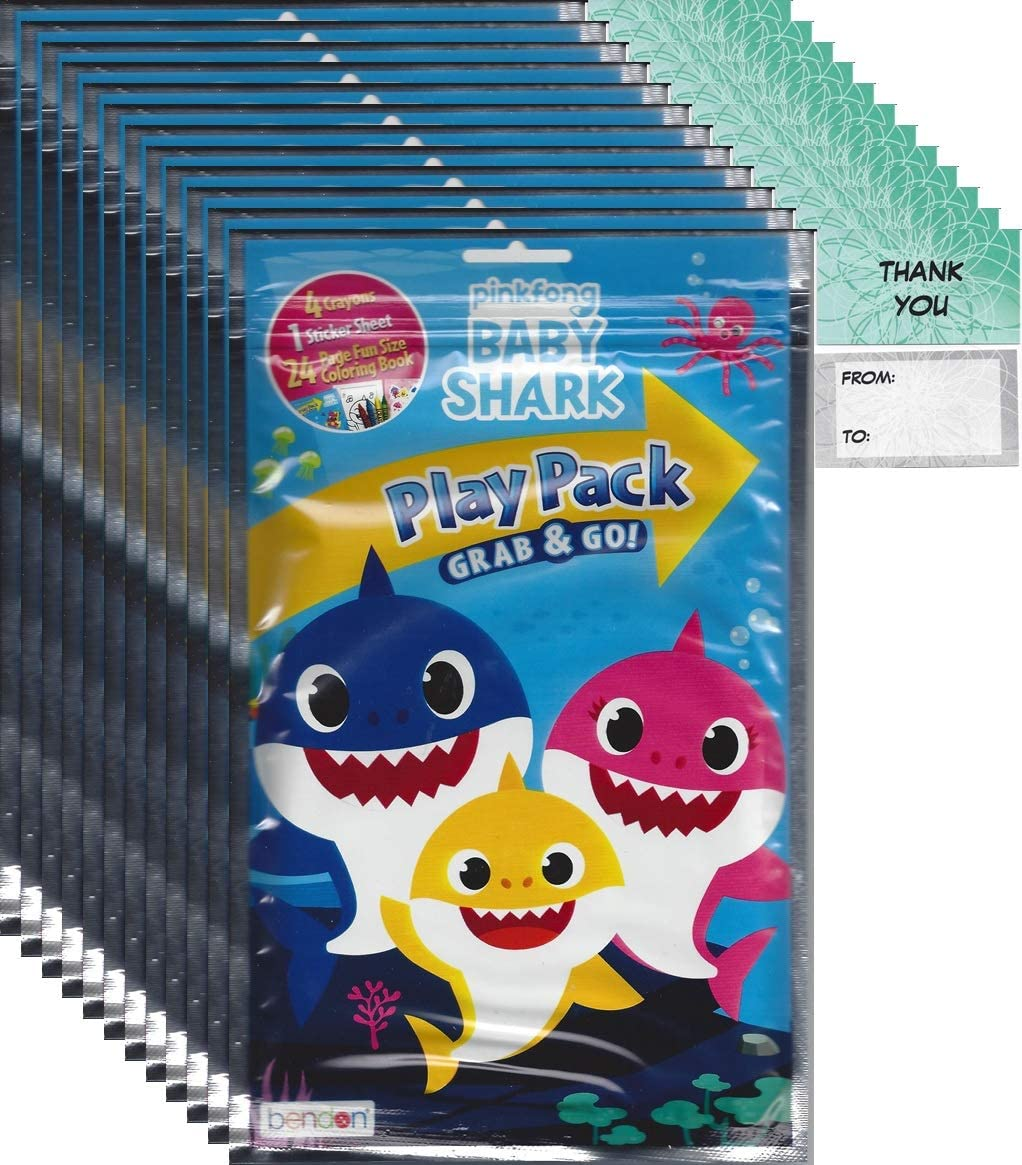 """Bendon Baby Shark Grab n Go Play Packs (12 Pack) Party Favors and 12""""Thanks you Cards"""""""