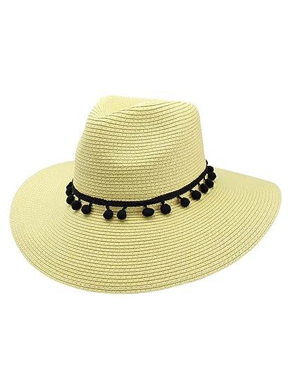 55c0245005b Straw Panama Style Sun Hat with Black Pom-Pom Trim at Amazon Women s  Clothing store