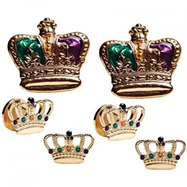 18eab5dbc6f Amazon.com  Mardi Gras Colored Crowns Gold Trim Tuxedo Studs and ...