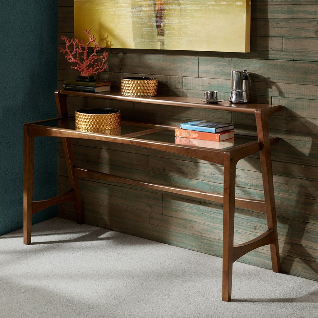 Mid Century Modern Retro Wood 2 Level Console Sofa Table With Glass Top In Pecan Finish (Console Table) by Mod Haus Living