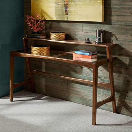 Mid Century Modern Retro Wood 2 Level Console Sofa Table With Glass Top In  Pecan Finish