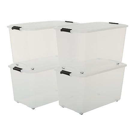 Iris Set von 4, Rollerbox 70 Liter, Rollbox mit Handel, Ordnungssystem, Rollenbox mit Deckel, Stapelbare Aufbewahrungsbox, Ku